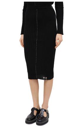 Женская шерстяная юбка ACT N1 черного цвета, арт. PFK2001 | Фото 3 (Материал внешний: Шерсть; Женское Кросс-КТ: Юбка-карандаш; Длина Ж (юбки, платья, шорты): Миди; Стили: Кэжуэл)