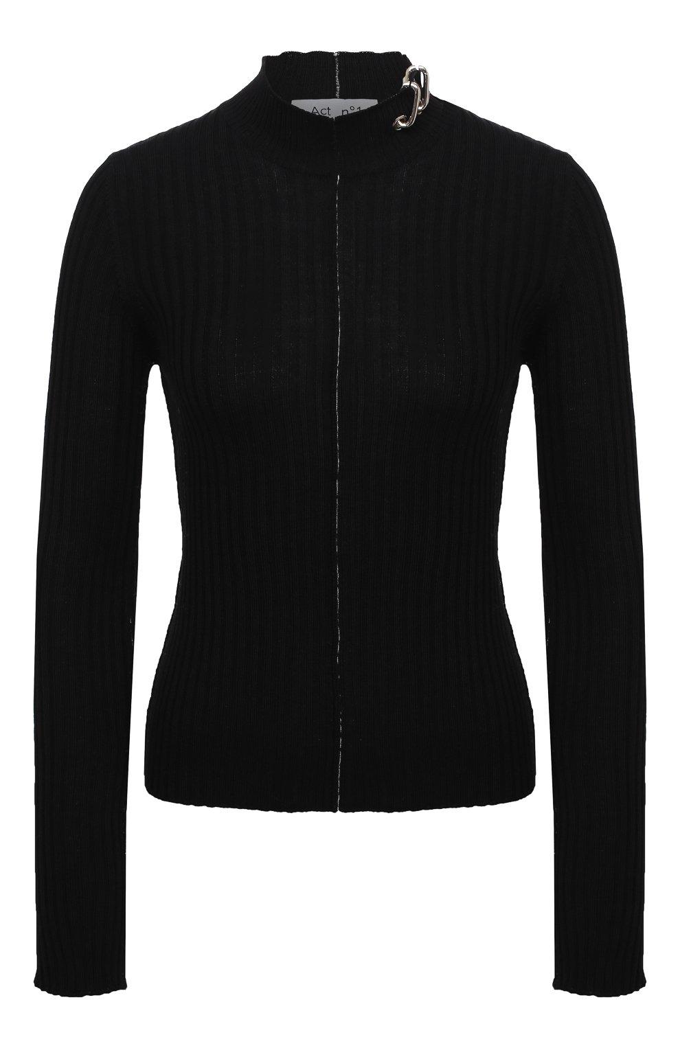 Женский шерстяной пуловер ACT N1 черного цвета, арт. PFK2003   Фото 1 (Материал внешний: Шерсть; Рукава: Длинные; Длина (для топов): Стандартные; Женское Кросс-КТ: Пуловер-одежда; Стили: Кэжуэл)