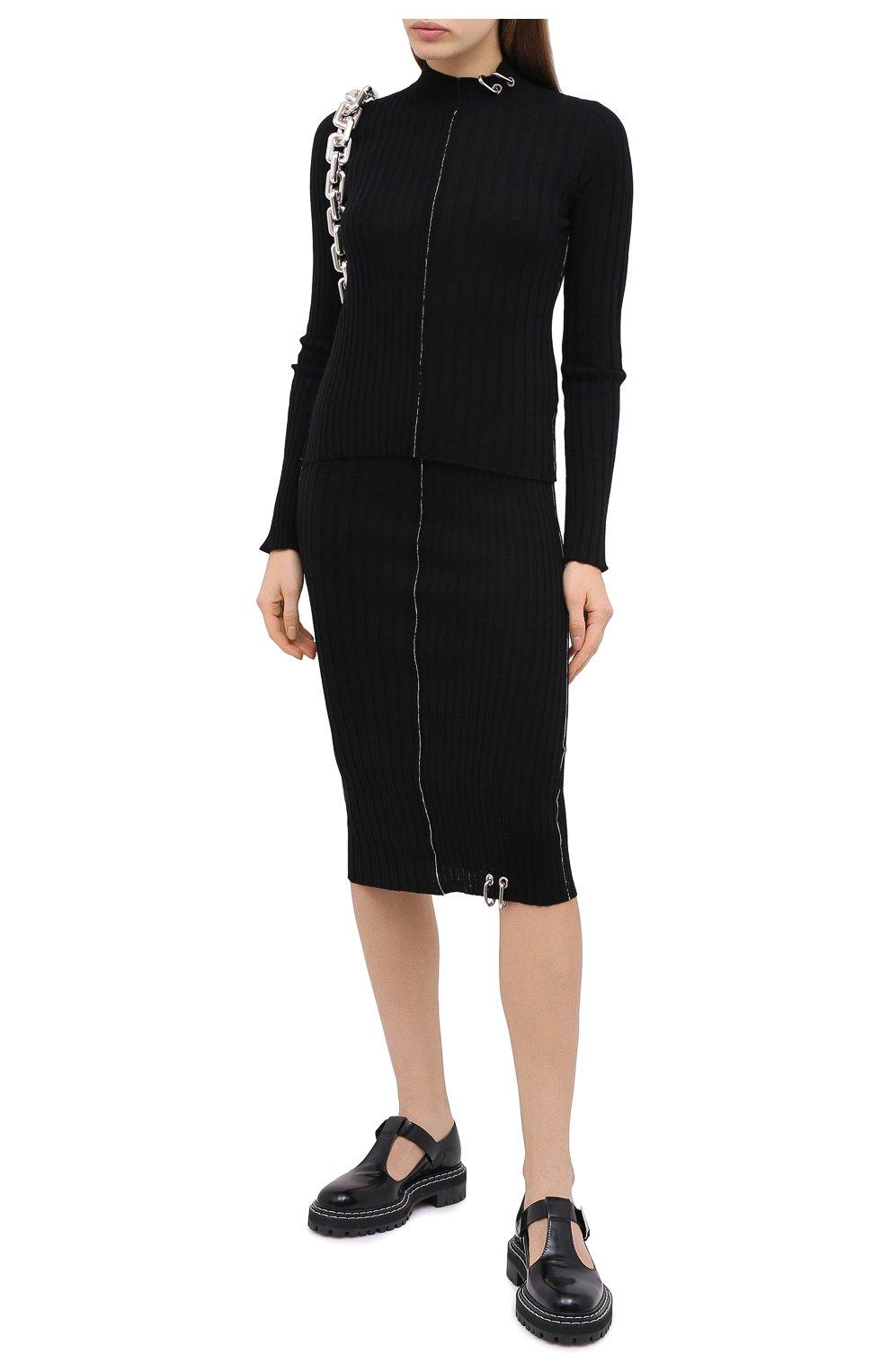 Женский шерстяной пуловер ACT N1 черного цвета, арт. PFK2003   Фото 2 (Материал внешний: Шерсть; Рукава: Длинные; Длина (для топов): Стандартные; Женское Кросс-КТ: Пуловер-одежда; Стили: Кэжуэл)
