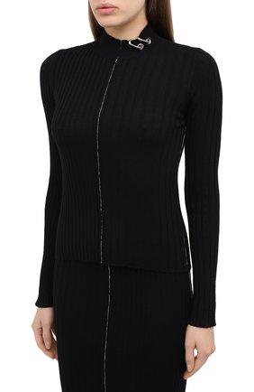 Женский шерстяной пуловер ACT N1 черного цвета, арт. PFK2003   Фото 3 (Материал внешний: Шерсть; Рукава: Длинные; Длина (для топов): Стандартные; Женское Кросс-КТ: Пуловер-одежда; Стили: Кэжуэл)