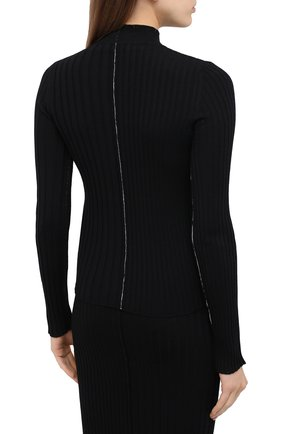 Женский шерстяной пуловер ACT N1 черного цвета, арт. PFK2003   Фото 4 (Материал внешний: Шерсть; Рукава: Длинные; Длина (для топов): Стандартные; Женское Кросс-КТ: Пуловер-одежда; Стили: Кэжуэл)