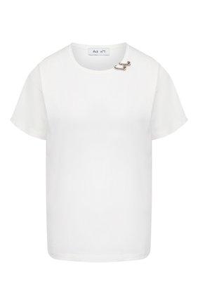 Женская хлопковая футболка ACT N1 белого цвета, арт. PFTS2001   Фото 1 (Материал внешний: Хлопок; Рукава: Короткие; Длина (для топов): Стандартные)