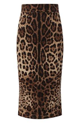 Женская шелковая юбка DOLCE & GABBANA леопардового цвета, арт. F4BMQT/FSADD | Фото 1