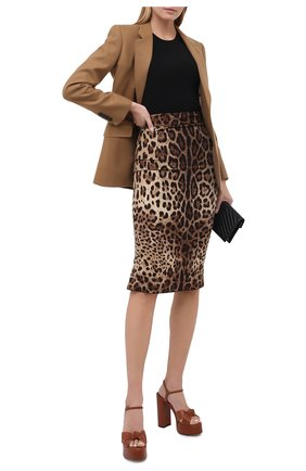 Женская шелковая юбка DOLCE & GABBANA леопардового цвета, арт. F4BMQT/FSADD | Фото 2