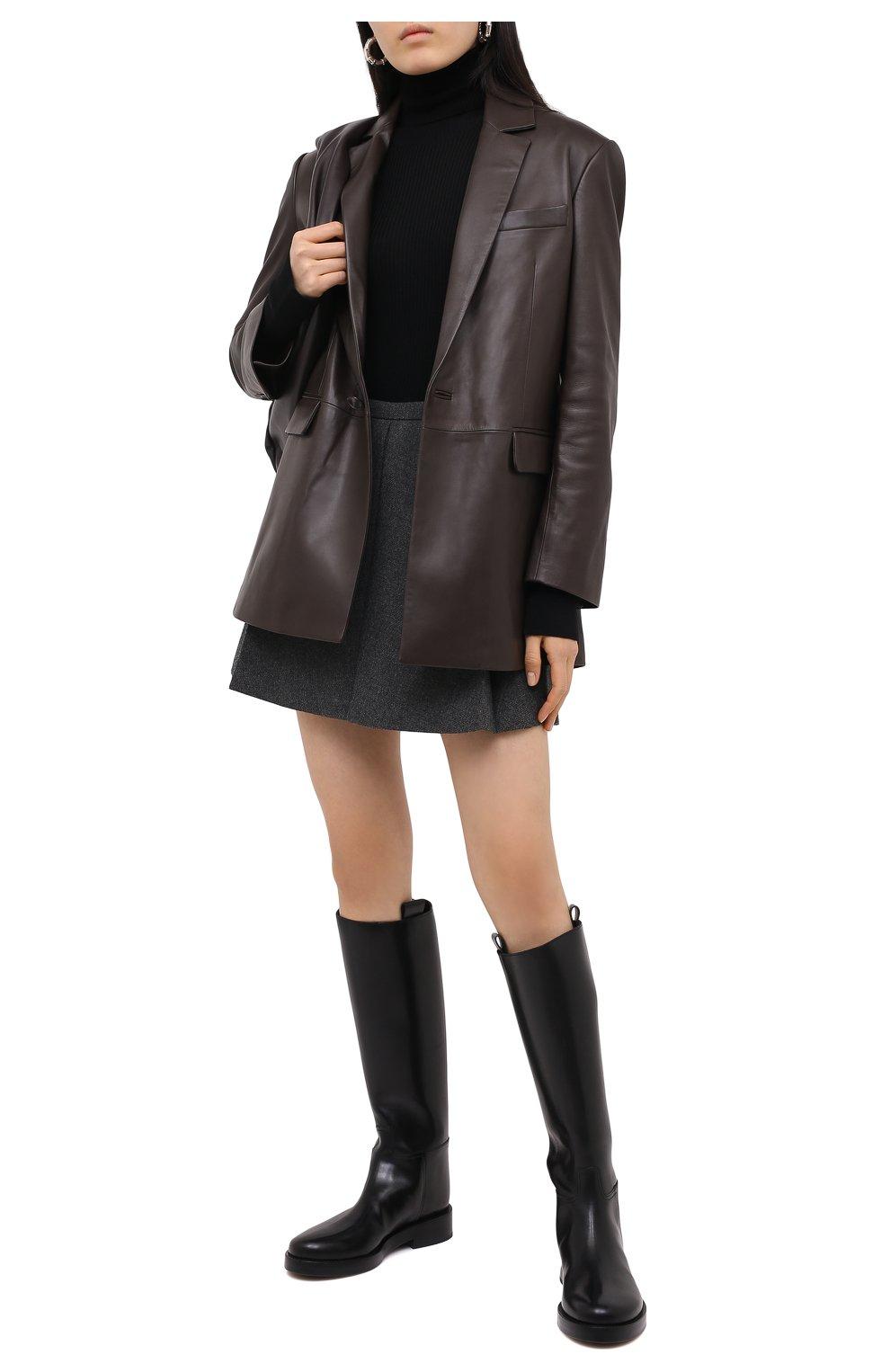 Женские шерстяные шорты BARBARA BUI серого цвета, арт. W1651WAR   Фото 2 (Женское Кросс-КТ: Шорты-одежда; Материал внешний: Шерсть; Длина Ж (юбки, платья, шорты): Мини; Материал подклада: Синтетический материал; Стили: Кэжуэл)