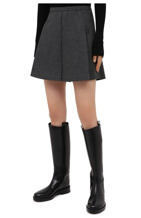 Женские шерстяные шорты BARBARA BUI серого цвета, арт. W1651WAR   Фото 3 (Женское Кросс-КТ: Шорты-одежда; Материал внешний: Шерсть; Длина Ж (юбки, платья, шорты): Мини; Материал подклада: Синтетический материал; Стили: Кэжуэл)