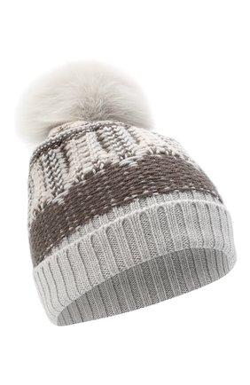 Женский шерстяная шапка LORENA ANTONIAZZI темно-серого цвета, арт. I2048CE002/328 | Фото 1