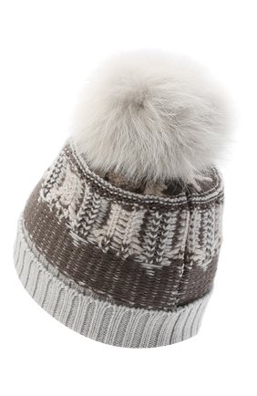 Женский шерстяная шапка LORENA ANTONIAZZI темно-серого цвета, арт. I2048CE002/328 | Фото 2