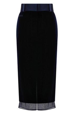 Женская юбка TOM FORD темно-синего цвета, арт. GC5521-FAX103 | Фото 1 (Материал подклада: Шелк; Длина Ж (юбки, платья, шорты): Миди; Женское Кросс-КТ: Юбка-карандаш; Стили: Романтичный; Материал внешний: Купро, Вискоза)