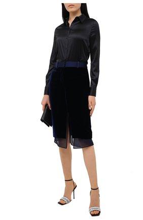 Женская юбка TOM FORD темно-синего цвета, арт. GC5521-FAX103 | Фото 2 (Материал подклада: Шелк; Длина Ж (юбки, платья, шорты): Миди; Женское Кросс-КТ: Юбка-карандаш; Стили: Романтичный; Материал внешний: Купро, Вискоза)