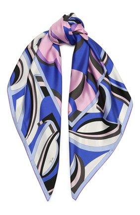Женский шелковый платок EMILIO PUCCI синего цвета, арт. 0UGB32/0UE32 | Фото 1