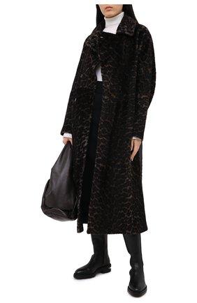 Женская шуба из овчины YVES SALOMON темно-серого цвета, арт. 21WYM64392MERL | Фото 2