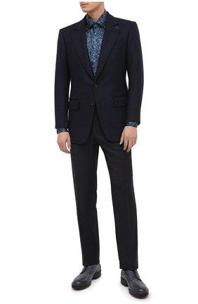 Мужская шелковая рубашка ZILLI синего цвета, арт. MFU-27001-1668/0004 | Фото 2