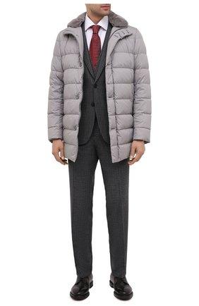 Мужской шерстяной костюм-тройка HUGO серого цвета, арт. 50440158 | Фото 1