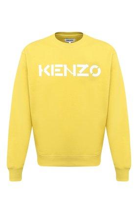Мужской хлопковый свитшот KENZO желтого цвета, арт. FA65SW0004MD   Фото 1