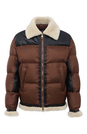 Мужская комбинированная куртка NEIL BARRETT коричневого цвета, арт. BSP529C/P183C | Фото 1