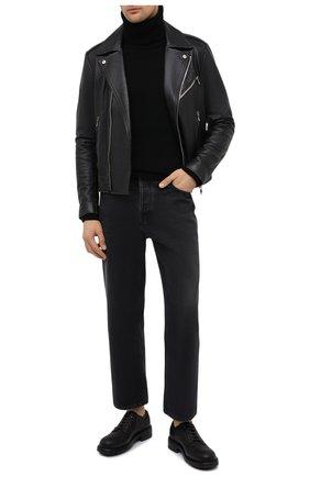 Мужской кожаные дерби DOLCE & GABBANA черного цвета, арт. A10656/AW374 | Фото 2