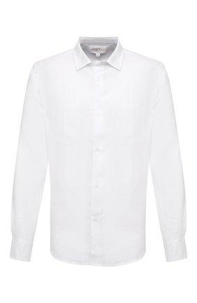 Мужская льняная рубашка DEREK ROSE белого цвета, арт. 9820-M0NA001 | Фото 1