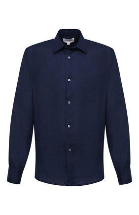 Мужская льняная рубашка DEREK ROSE синего цвета, арт. 9820-M0NA002 | Фото 1