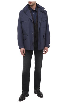 Мужская льняная рубашка DEREK ROSE синего цвета, арт. 9820-M0NA002 | Фото 2