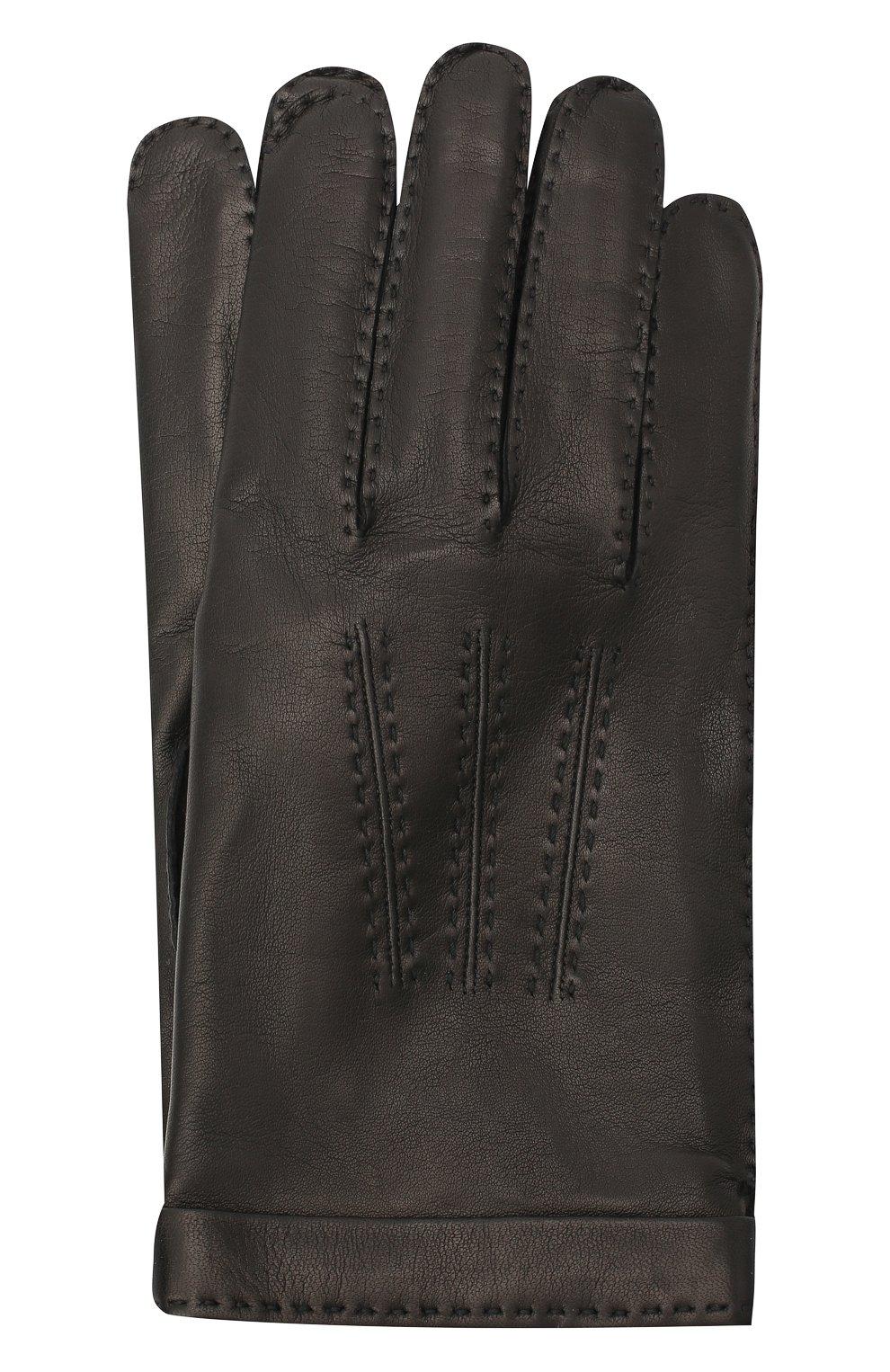 Мужские кожаные перчатки CORTIGIANI черного цвета, арт. 911155/0000   Фото 1