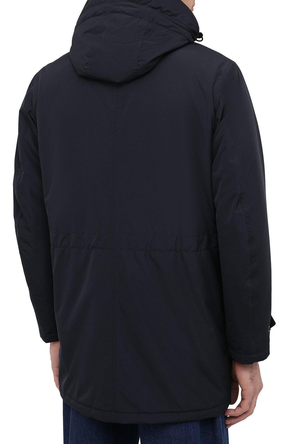 Мужская утепленная парка ASPESI темно-синего цвета, арт. W0 I 9I12 7981 | Фото 4 (Кросс-КТ: Куртка, Пуховик; Мужское Кросс-КТ: пуховик-короткий, Пуховик-верхняя одежда, Верхняя одежда; Рукава: Длинные; Материал внешний: Синтетический материал; Материал подклада: Синтетический материал)
