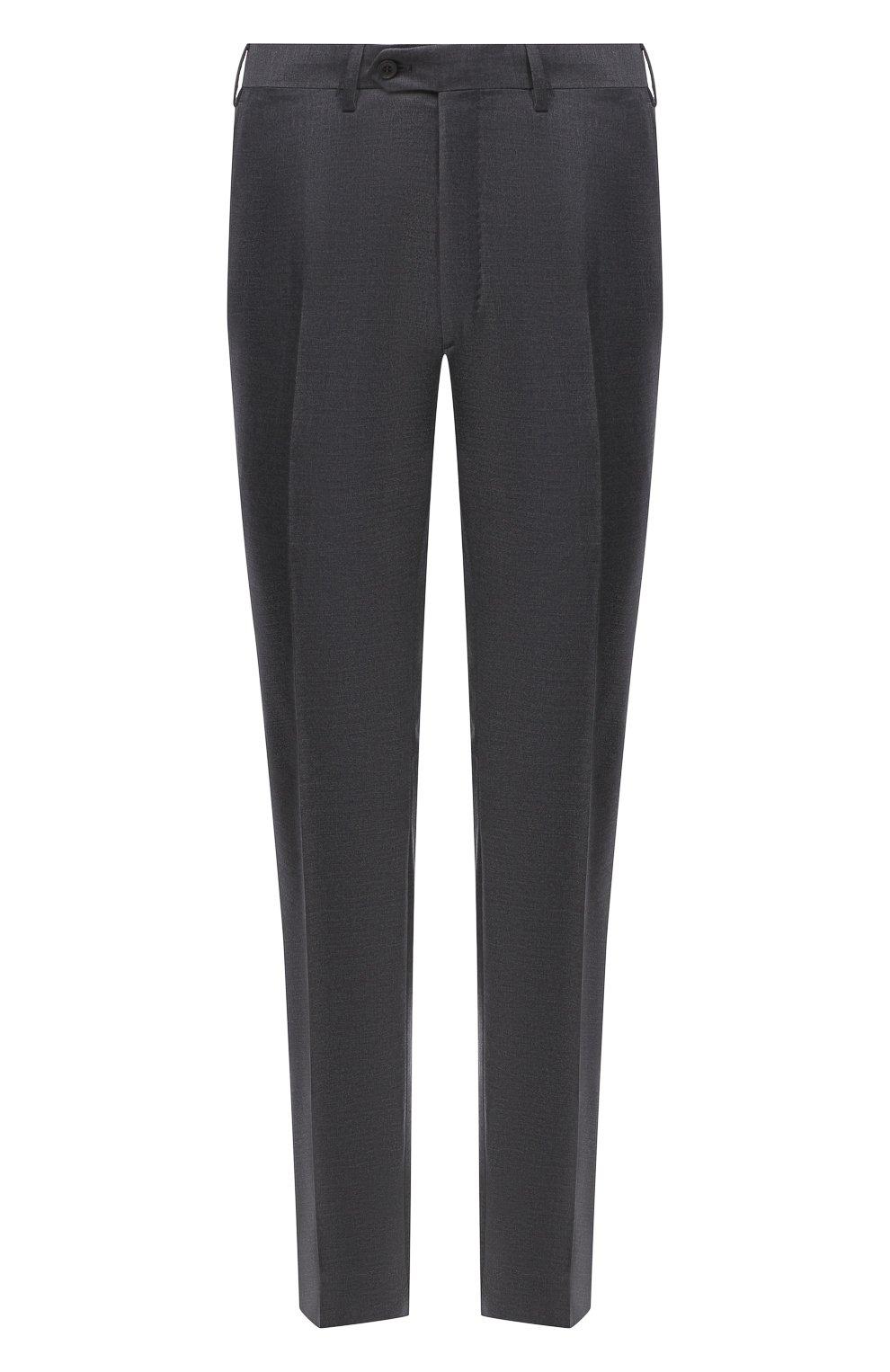 Мужские шерстяные брюки BRIONI серого цвета, арт. RPL23X/PZA0P/M0ENA   Фото 1 (Материал внешний: Шерсть; Длина (брюки, джинсы): Стандартные; Стили: Классический; Случай: Формальный; Материал подклада: Купро)