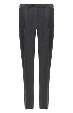 Мужские шерстяные брюки BRIONI серого цвета, арт. RPL23X/PZA0P/M0ENA | Фото 1 (Материал подклада: Купро; Длина (брюки, джинсы): Стандартные; Материал внешний: Шерсть; Случай: Формальный; Стили: Классический)