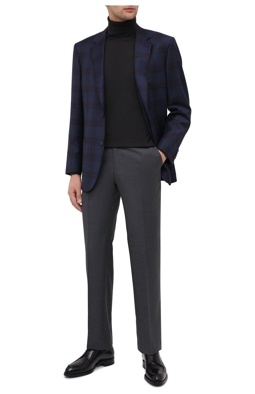 Мужские шерстяные брюки BRIONI серого цвета, арт. RPL23X/PZA0P/M0ENA   Фото 2 (Материал внешний: Шерсть; Длина (брюки, джинсы): Стандартные; Стили: Классический; Случай: Формальный; Материал подклада: Купро)