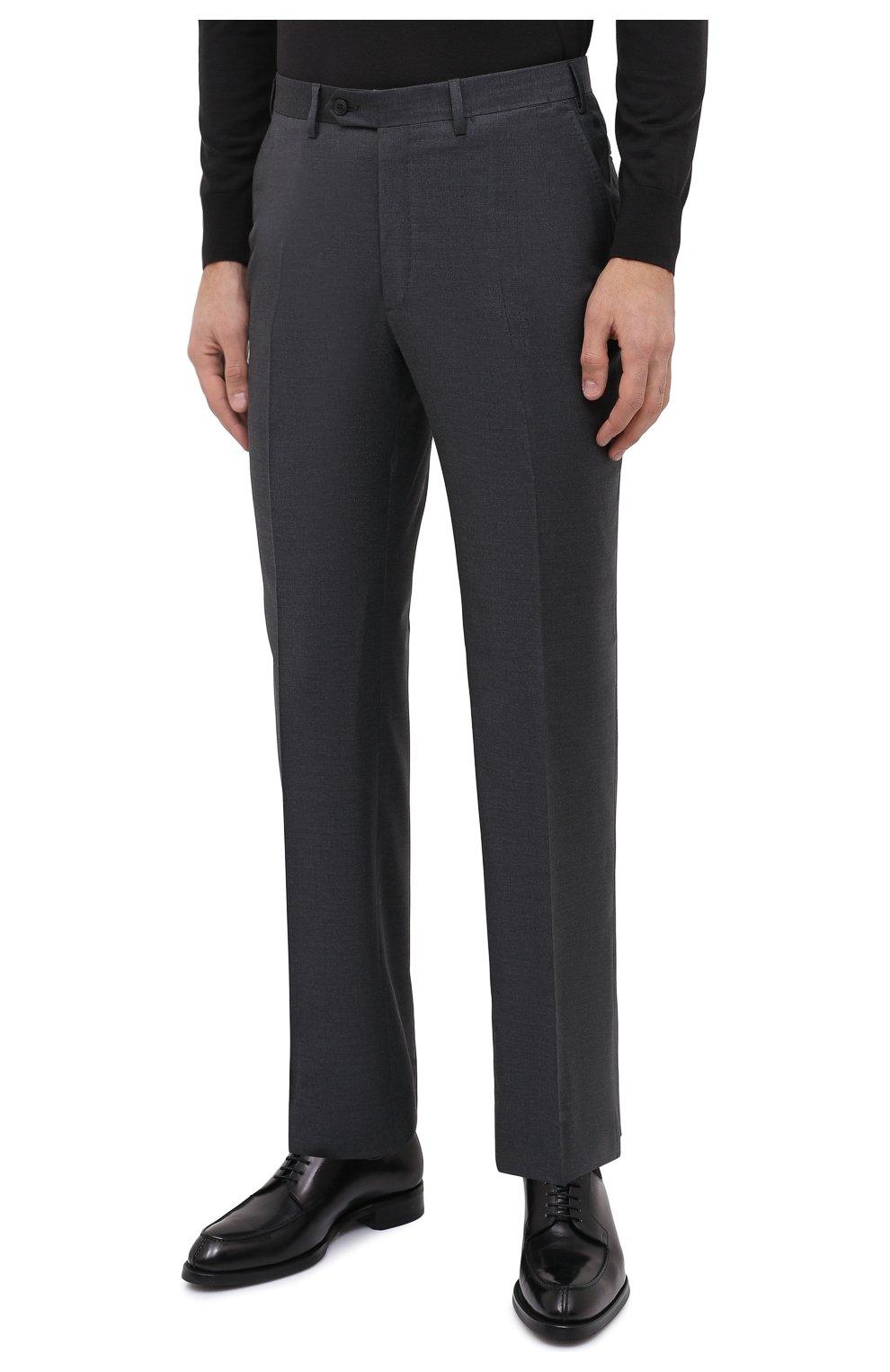 Мужские шерстяные брюки BRIONI серого цвета, арт. RPL23X/PZA0P/M0ENA   Фото 3 (Материал внешний: Шерсть; Длина (брюки, джинсы): Стандартные; Стили: Классический; Случай: Формальный; Материал подклада: Купро)