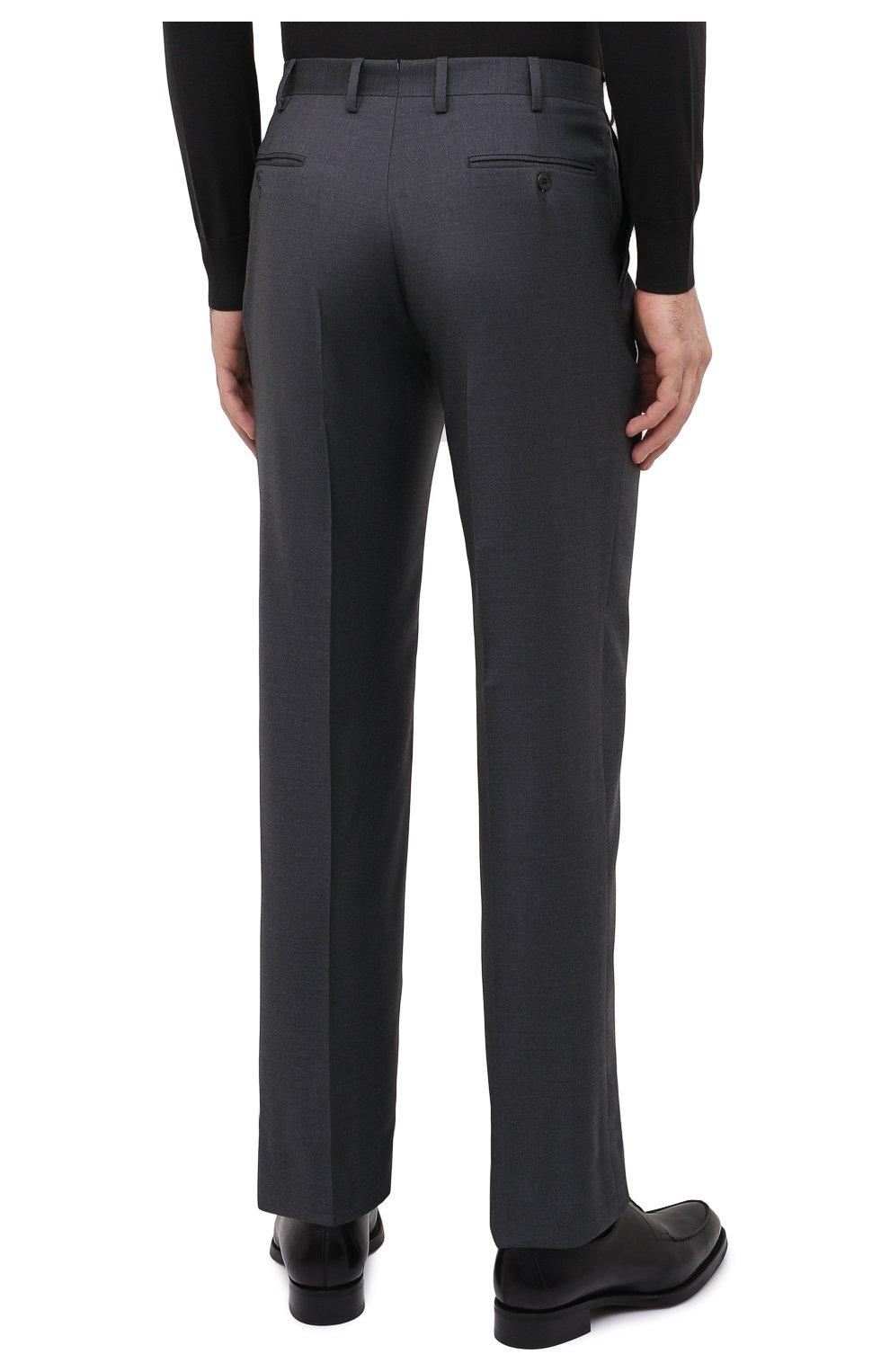 Мужские шерстяные брюки BRIONI серого цвета, арт. RPL23X/PZA0P/M0ENA   Фото 4 (Материал внешний: Шерсть; Длина (брюки, джинсы): Стандартные; Стили: Классический; Случай: Формальный; Материал подклада: Купро)