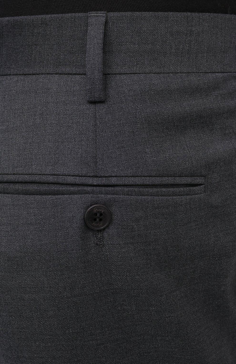 Мужские шерстяные брюки BRIONI серого цвета, арт. RPL23X/PZA0P/M0ENA   Фото 5 (Материал внешний: Шерсть; Длина (брюки, джинсы): Стандартные; Стили: Классический; Случай: Формальный; Материал подклада: Купро)