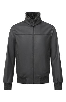 Мужской кожаный бомбер BRIONI серого цвета, арт. PLZ40L/P7708 | Фото 1 (Рукава: Длинные; Материал утеплителя: Шерсть; Длина (верхняя одежда): Короткие; Мужское Кросс-КТ: Кожа и замша, Верхняя одежда; Принт: Без принта; Стили: Кэжуэл; Кросс-КТ: Куртка)