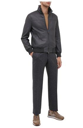 Мужской кожаный бомбер BRIONI серого цвета, арт. PLZ40L/P7708 | Фото 2 (Рукава: Длинные; Материал утеплителя: Шерсть; Длина (верхняя одежда): Короткие; Мужское Кросс-КТ: Кожа и замша, Верхняя одежда; Принт: Без принта; Стили: Кэжуэл; Кросс-КТ: Куртка)