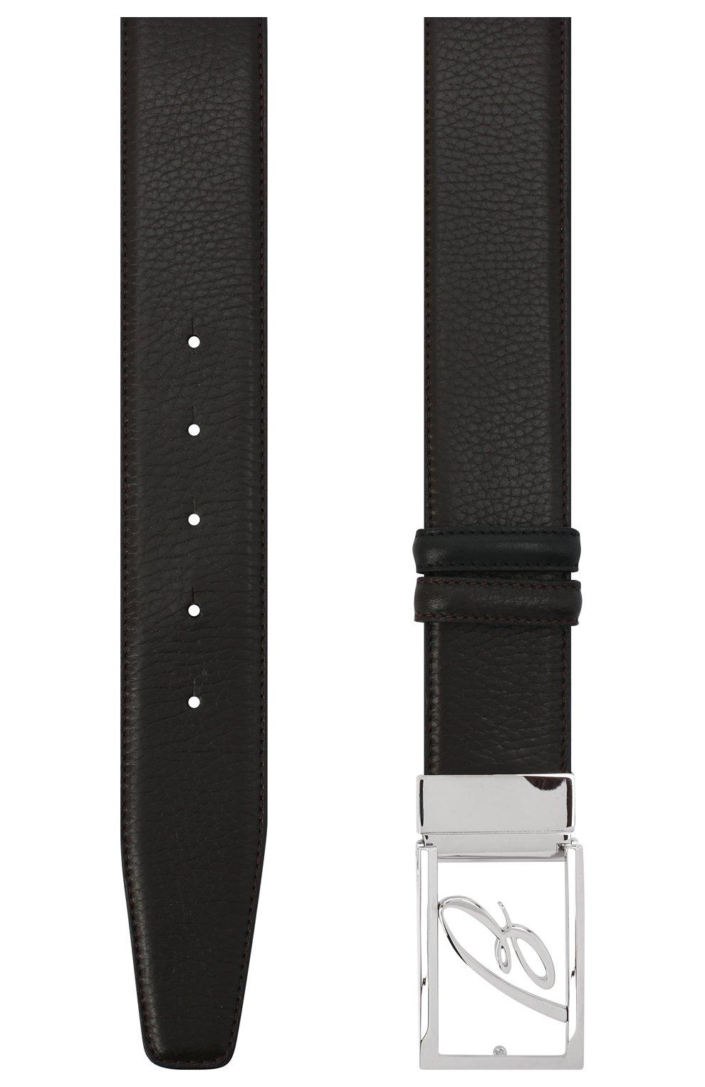 Мужской кожаный ремень BRIONI темно-коричневого цвета, арт. 0BAS0L/09719 | Фото 2