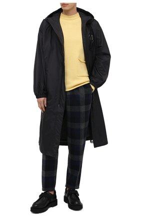 Мужские шерстяные брюки KENZO темно-серого цвета, арт. FA65PA5001RG | Фото 2 (Материал внешний: Шерсть, Синтетический материал; Материал подклада: Хлопок; Длина (брюки, джинсы): Стандартные; Случай: Повседневный; Стили: Кэжуэл)
