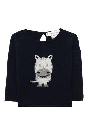 Детский кашемировый пуловер OSCAR ET VALENTINE синего цвета, арт. PUL01ZEBRAS | Фото 1