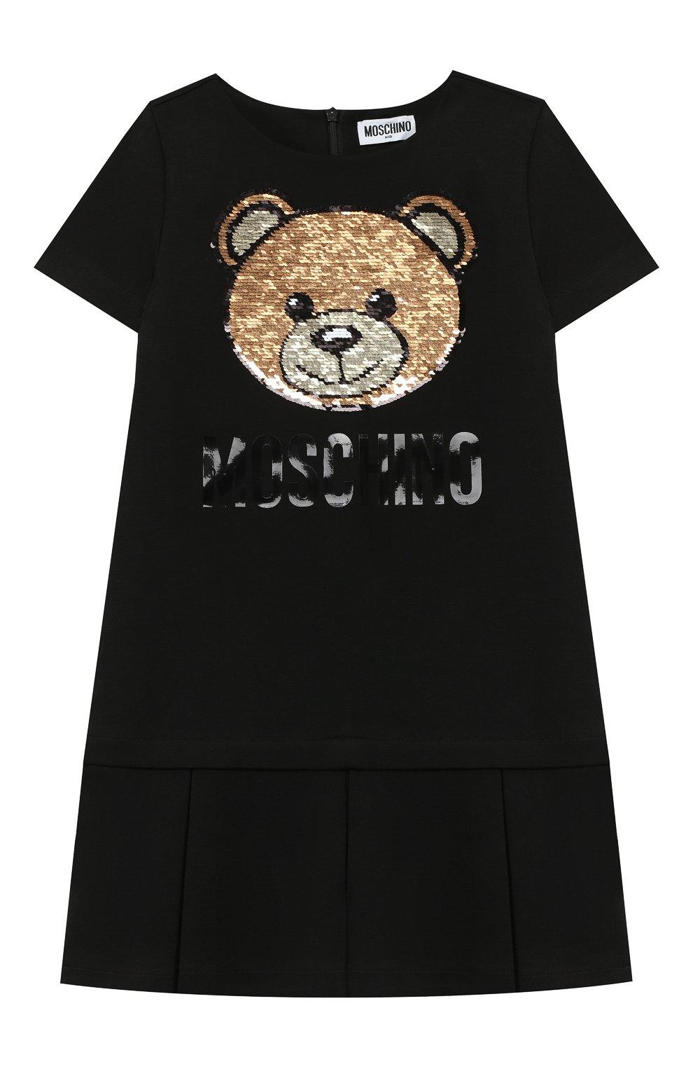Детское платье MOSCHINO черного цвета, арт. HDV09H/LJA02/4A-8A | Фото 1 (Рукава: Короткие; Случай: Повседневный)