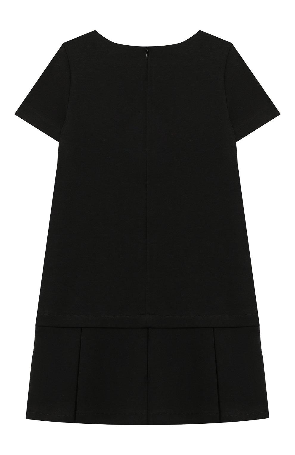 Детское платье MOSCHINO черного цвета, арт. HDV09H/LJA02/4A-8A | Фото 2 (Рукава: Короткие; Случай: Повседневный)