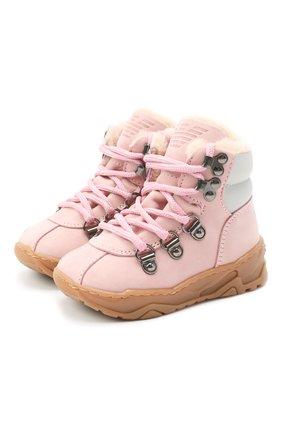 Детские кожаные ботинки EMPORIO ARMANI розового цвета, арт. XMZ002/X0R05 | Фото 1