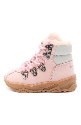 Детские кожаные ботинки EMPORIO ARMANI розового цвета, арт. XMZ002/X0R05 | Фото 2