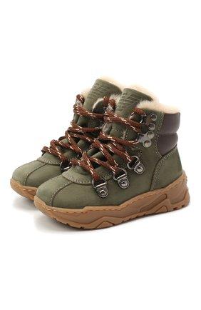 Детские кожаные ботинки EMPORIO ARMANI хаки цвета, арт. XMZ002/X0R05 | Фото 1