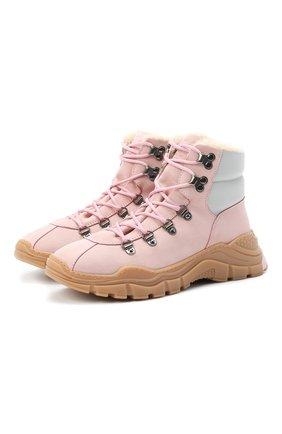 Детские кожаные ботинки EMPORIO ARMANI розового цвета, арт. XYZ003/X0R05/35-40 | Фото 1