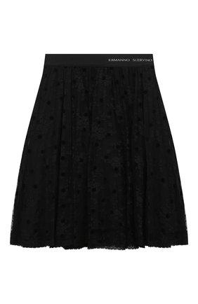 Детская юбка ERMANNO SCERVINO черного цвета, арт. 47I GN04 PIZ/4-8 | Фото 1