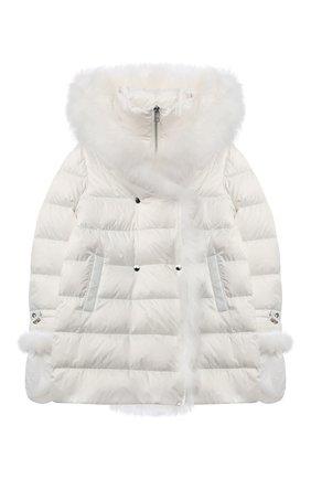 Детского комплект из куртки и варежек YVES SALOMON ENFANT белого цвета, арт. 21WEM012XXD0SW/12-14 | Фото 1