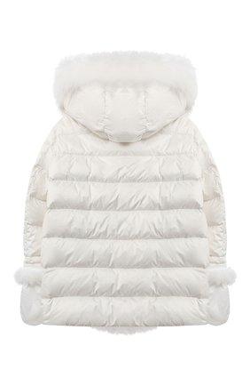 Детского комплект из куртки и варежек YVES SALOMON ENFANT белого цвета, арт. 21WEM012XXD0SW/12-14 | Фото 2
