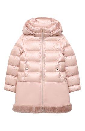 Детское пуховое пальто HERNO светло-розового цвета, арт. PI0106G/12017/10A-14A | Фото 1