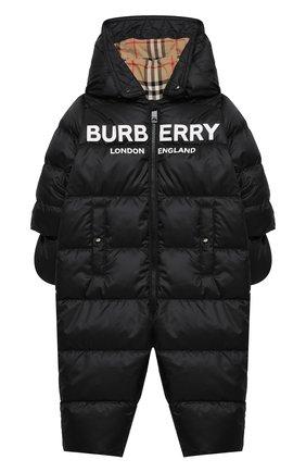 Детского пуховый комбинезон BURBERRY черного цвета, арт. 8014131/1M-9M | Фото 1