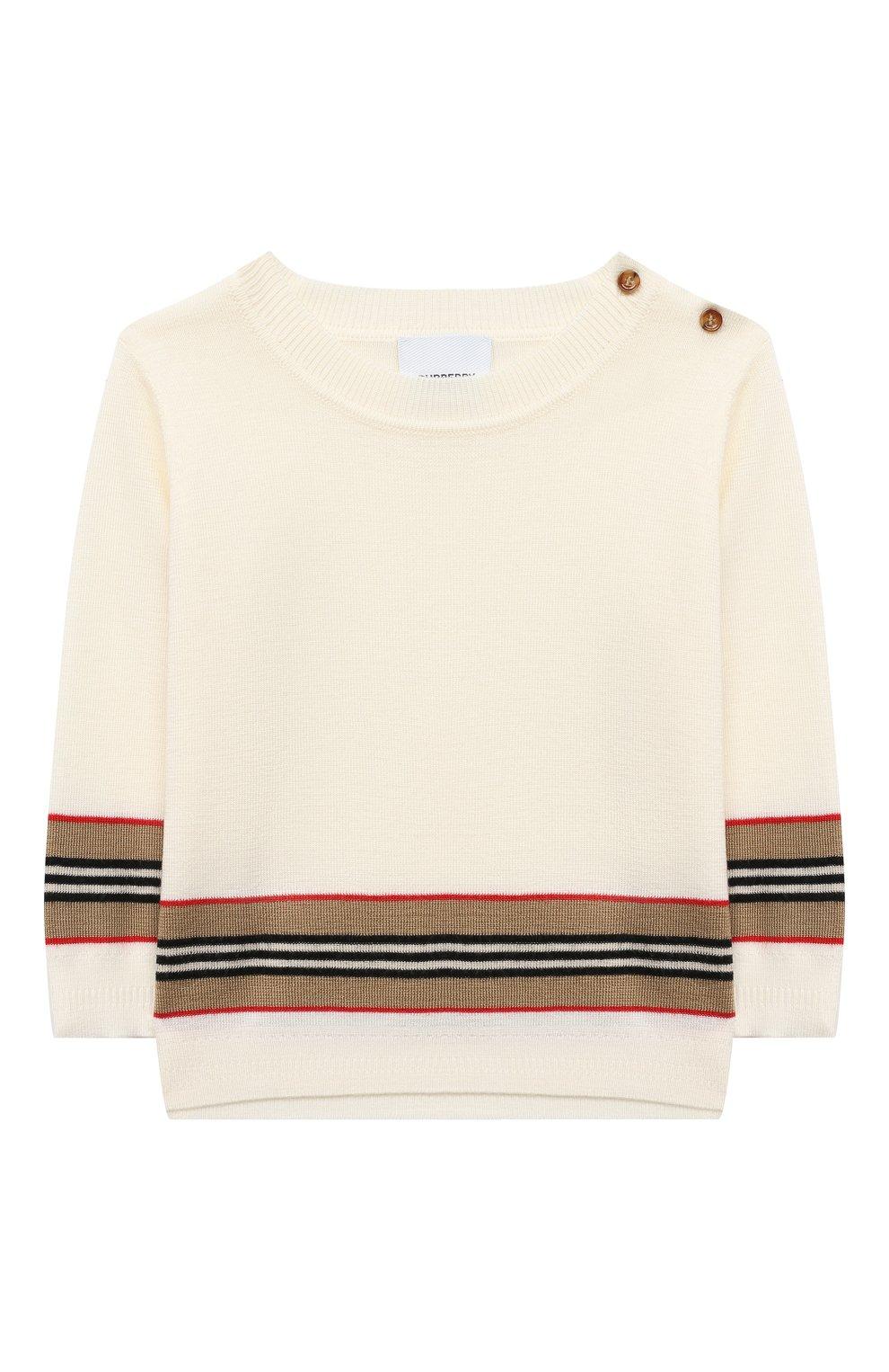 Детский шерстяной пуловер BURBERRY белого цвета, арт. 8033059 | Фото 1
