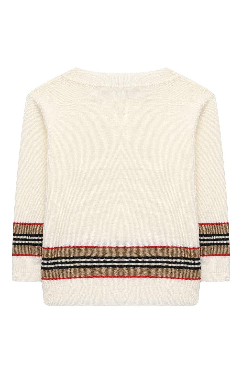 Детский шерстяной пуловер BURBERRY белого цвета, арт. 8033059 | Фото 2
